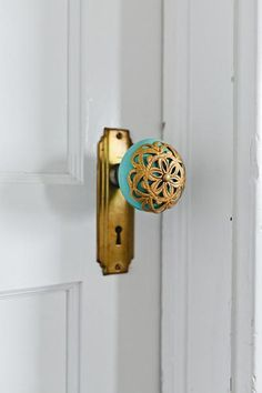 Door Knob green agate looking handle with brass floral motif cover Open up