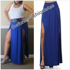 Plus Size Womens Maxi Skirt Royal Blue 3X 3XL Long Double Split