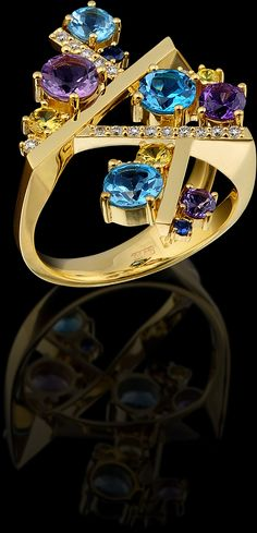 Master Exclusive Jewellery, ring from Kaleidoscope collection, 18K gold, Diamond, Sapphire, Amethyst and Topaz
