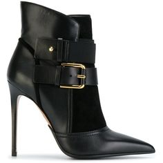 Balmain Anais Leather Ankle Boots (70.315 RUB) ❤ liked on Polyvore featuring shoes, boots, ankle booties, balmain, booties, black, high heel ankle boots, black ankle bootie, leather bootie and black ankle boots