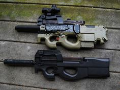 Nerf Rayven P90 mod, alongside an airsoft P90. Nice job!