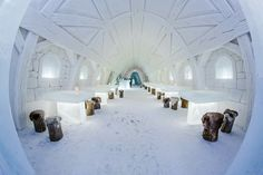 Amazing interiors of the Kemin LumiLinna - The SnowCastle of Kemi. Hard to believe this is all made out of snow and ice, by hand!