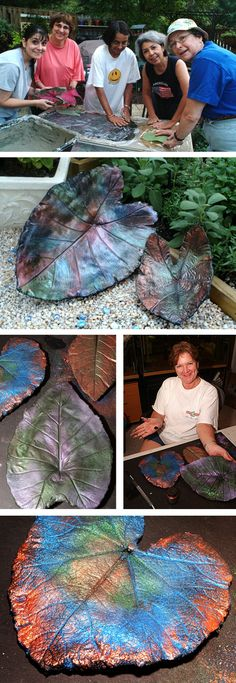 Concrete leaf castings. Painted black and rubbed with powdered metallic powdered pigments (the type often used in Sculpey jewelry projects). We used the Pearl Ex powdered pigment series, and we find silver, gold, bronze, blues, greens, and purples work much better than the pastel colors.  Larger leaves may need to be reinforced with chicken wire.