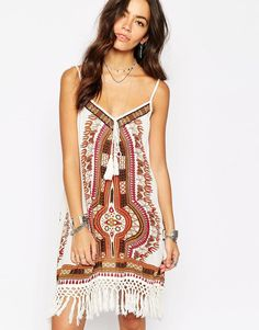 Band of Gypsies Printed Dress With Low Back And Tassel Detail