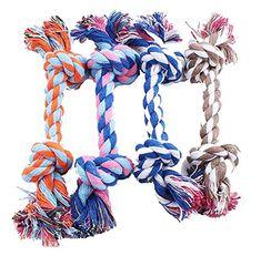 Ce jouet en coton multicolore est doux et résistant Un produit qui favorise l'état de la dentition de votre chien Passez du temps de vos animaux de compagnie Longueur(Env.): 17cm ----------------------------------------------------------- Paquet: 1X Jouet Corde Cordon en Coton avec 2 Nœuds pour Jouer/Mâcher Taille S-17cm(Couleur aléatoire)