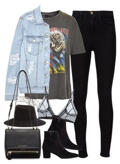 """Outfit for meeting up with friends"" by ferned on Polyvore featuring Frame Denim, And Finally, SJYP, Anine Bing, Stuart Weitzman, Maison Michel, Givenchy and H&M"