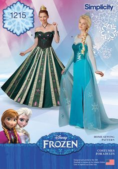 """feel like norwegian royalty with this frozen costume pattern for miss. pattern includes anna's beautiful gown from coronation day, and elsa's ice queen gown. simplicity sewing pattern. <a href=""""/t-craft-ideas-frozen-glitter-crowns.aspx"""" class=""""red""""><strong>click here for free project crowns</strong></a>"""