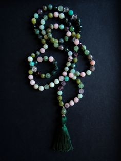 Moss Agate, Green Aventurine, Heart Chakra, Crystal Healing, Tassel Necklace, Mystic, Amethyst, Earth, Gemstones
