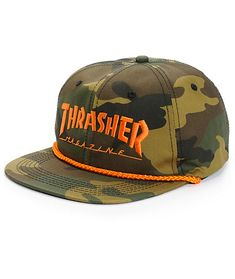 Customize your kit with this canvas snapback hat that features an allover  camo print contrasted by a bright orange Thrasher embroidery at the front  and rope ... 50c4ffbaceab