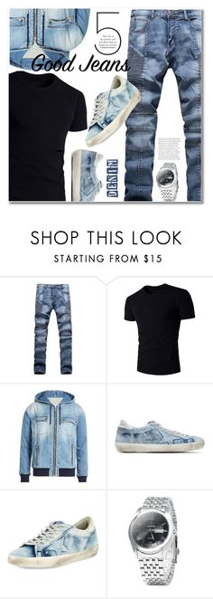 """Denim"" by svijetlana ❤ liked on Polyvore featuring Balmain, Golden Goose, men's fashion, menswear, alldenim and rosegal"