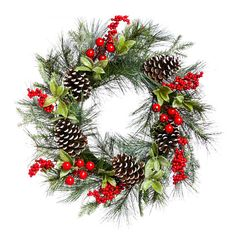 """Found it at AllModern - 24"""" Holly and Pinecone Wreath"""