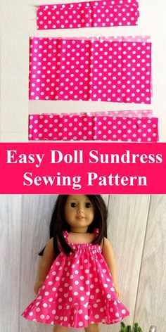 Easy Doll Sundress Sewing Pattern - Sew Crafty Me This is an easy sundress sewing pattern for your little girl's 18 Inch American doll. This pattern can be whipped up in less than an hour. American Girl Outfits, Ropa American Girl, American Doll Clothes, American Girl Doll Pajamas, American Girl Dress, Sundress Pattern, Doll Dress Patterns, Doll Sewing Patterns, Pattern Sewing