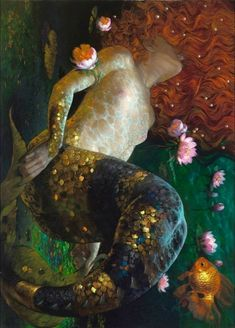 Mermaids And Mermen, Fantasy Mermaids, Real Mermaids, Mermaid Artwork, Mermaid Paintings, Klimt, Art And Architecture, Painting Inspiration, Painting & Drawing