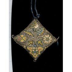 Pincushion attachment to Purse, English, 1600-1625; Victoria & Albert Museum No. T.52&A-1954; Close-up of pincushion