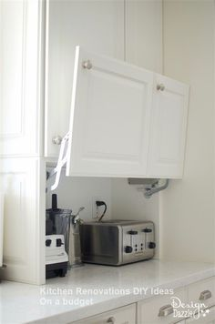I want to show you all the creative hidden kitchen storage solutions I came up w. - I want to show you all the creative hidden kitchen storage solutions I came up with and how they make my life so much easier. I LOVE cooking in my kit. Farmhouse Kitchen Cabinets, Kitchen Redo, Kitchen Microwave Cabinet, Kitchen Must Haves, Decorating Kitchen Counters, Kitchen Cabinets 2018, Diy Kitchen Makeover, Organizing Kitchen Cabinets, Cabnits Kitchen