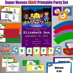 Super Heroes-Girl-Birthday Printable Party by PaperWillowDesigns