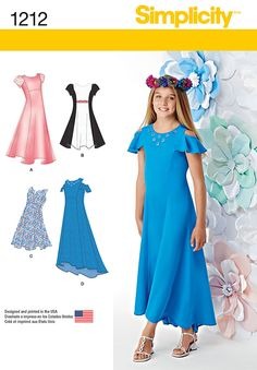Sewing Patterns Girls, Simplicity Sewing Patterns, Clothing Patterns, Dress Patterns, Paper Patterns, Kids Clothing, Plus Dresses, Girls Dresses, Girls Special Occasion Dresses