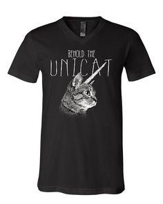 2a2131fe9 Behold the Unicat V-Neck T-Shirt Funny Cat Unicorn Pop Culture Weird Tee