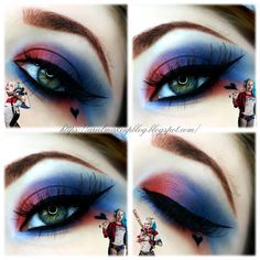 Ariel Make Up ~ Make Up & Beauty with a Princess Touch: ♕ Halloween 2016 ♕ Harley Quinn ~ Suicide Squad ♕ Creative Eye Makeup, Eye Makeup Art, Eyeshadow Makeup, Maquillaje Harley Quinn, Maquillaje Halloween, Make Up Art, Eye Make Up, Helloween Make Up, Harley Queen