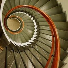 we wind around it Colour Architecture, Architecture Details, Interior Architecture, Interior And Exterior, Spiral Staircases, Curved Staircase, Staircase Design, Porch And Foyer, House With Porch