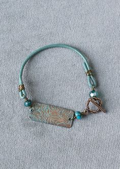 Turquoise and Copper Component Bracelet - Cherry Tree Beads