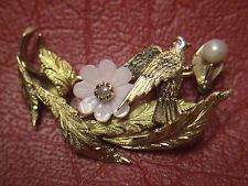 Antique Victorian Mourning Dove Bird Brooch 18K Yellow Gold w/ Pearls