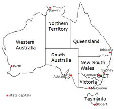 Australia map for labeling (states, territories, and capi