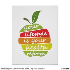 Health quote in decorated style, and apple element #motivationalquote #healthquote #motivationaldecal