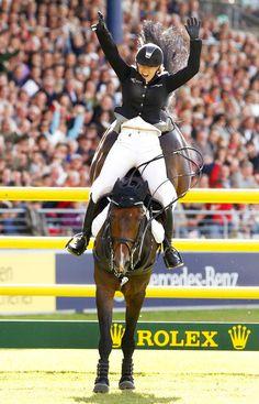 With a Samshield helmet on! Janne Friederike Meyer in the 2011 Rolex Grand Prix of Aachen aboard her famous stallion Cellagon Lambrasco.