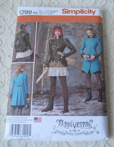 Simplicity 1299 Sewing Pattern Steampunk Jacket Bustle & Ruffled Skirt Womens Size HH 6-12