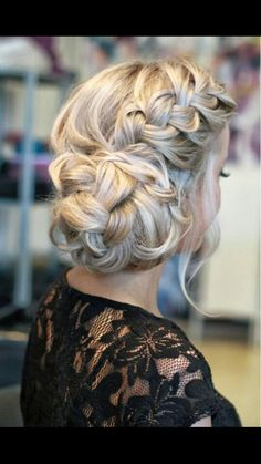 Loose braided updo.