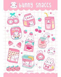 AJ Tuana Cute Food Drawings, Cute Little Drawings, Cute Kawaii Drawings, Cute Animal Drawings, Arte Do Kawaii, Kawaii Art, Kawaii Stickers, Cute Stickers, Cute Food Art