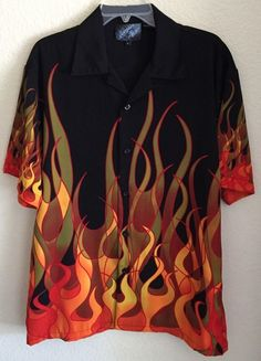 Sapphire Lounge Men's Button Front Size Medium-Black with Multi-colored Flames #SapphireLounge #ButtonFront