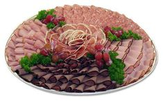 Trays gourmet meat tray a delicious Meat And Cheese Tray, Meat Trays, Meat Platter, Food Trays, Deli Platters, Deli Tray, Catering Food Displays, Catering Menu, Food Mills