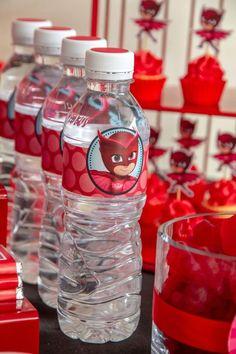 Owlette Water Bottles from a PJ Masks Birthday Party on Kara's Party Ide tu jkas Pj Masks Birthday Cake, Superhero Birthday Party, Boy Birthday Parties, Birthday Ideas, Apple Birthday, Fourth Birthday, Pjmask Party, Party Ideas, Party Songs
