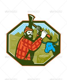 Paul Bunyan LumberJack Axe Blue Ox  #GraphicRiver         Illustration of Paul Bunyan a lumberjack sawyer forest worker swinging an axe with tree stumps and Babe the blue ox bull cow in background set inside hexagon done in retro style Editable EPS8 (you can use any vector program), JPEG and Transparent PNG (can edit in any graphic editor) files are included.     Created: 25July13 GraphicsFilesIncluded: TransparentPNG #JPGImage #VectorEPS Layered: No MinimumAdobeCSVersion: CS Tags: Forester…