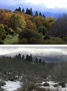 Aniversario de la Sierra del Guadarrama |Desde el valle de Valsaín se pueden ver los siete picos de su cara norte desde la vertiente segoviana. Arriba, imagen de noviembre de 2013, abajo, imagen de febrero de 2014.