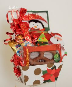 Mini Holiday Snack Gift Basket Holiday Decor, Business Profile, Novelty Items, Gift Baskets, Floral Arrangements, Party Favors, Custom Design, Christmas Ornaments