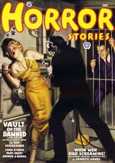 Horror Stories magazine pulp cover art by John Newton Howitt, woman dame captive hostage kidnap tied bound torture bank robber vault blowtorch torch fire danger heist hoodlum