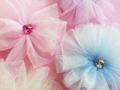 Pastel Tutu Hair Clip  Rhinestone Heart by MissLottiesBoutique