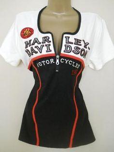 HARLEY DAVIDSON M 1/4 Zip Stretch T-Shirt Top Off White Black Red NWT