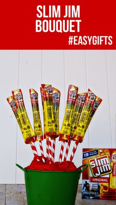 "Slim Jim bouquet.  ""Snap into a Slim Jim""    Does anyone actually eat these nasty things?"