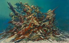 生賴範義 「破壊される人間」のための習作 1981頃 895x1560mm キャンバスに油彩 © 2015 生賴範義