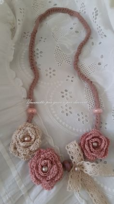 Romantic necklace with hand crocheted roses-shabby chic-romantic necklace with…