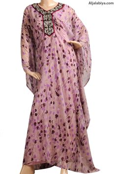 "aljalabiya.com: ""Poppy Seed Dandy"" Chiffon butterfly kaftan with embroidery (N-13000-21) $138.00"