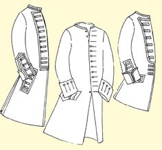 J.P. Ryan 1750's frock coat with military variations (plain, functional mariner's, and curved cuff variants)
