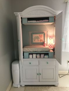 Armoire converted to changing table