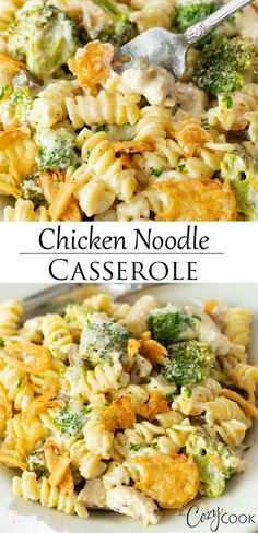Cheesy Chicken Noodle Casserole This Chicken Noodle Casserole is a perfect meal prep recipe that you can make 2 days ahead of time. An easy dinner idea and classic comfort food! Cheesy Chicken Noodle Casserole, Pasta Casserole, Easy Casserole Recipes, Easy Dinner Recipes, Chicken Noodles, Easy Dinner Casserole, Easy Comfort Food Recipes, Hamburger Casserole, Easy Dinners