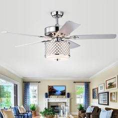 52 Matheson 5 Blade Ceiling Fan with Remote, Light Kit Included Living Room Ceiling Fan, Home Ceiling, Living Room Lighting, Office Lighting, Kitchen Ceiling Fans, Bedroom Ceiling Fans, Ceiling Fan Chandelier, Ceiling Lights, Chandeliers