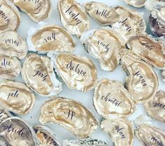 Gold Oyster Shells Place Cards / Oyster Shell Escort by RachelCarl